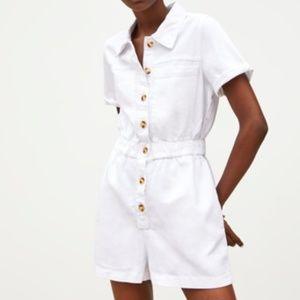 Zara White Buttoned Romper